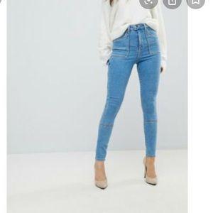 ASOS High Waisted Carpenter Skinny Jeans 25